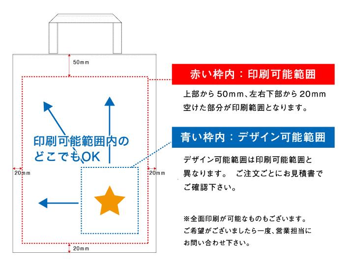 デザインの配置は印刷可能範囲内にして頂きますようお願いいたします