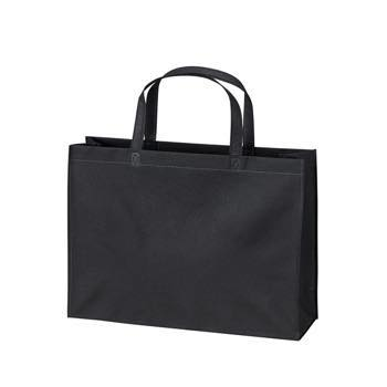 ベーシック不織布トートバッグ100 A4横:ブラックの商品画像