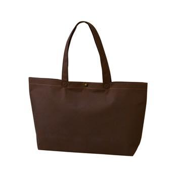 カジュアル不織布トートバッグ A4横:ダークブラウン プラホック:黒の商品画像