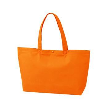 カジュアル不織布トートバッグ A4横:オレンジ プラホック:白の商品画像