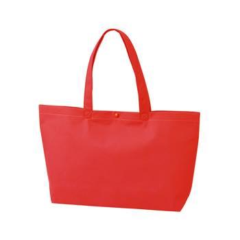 カジュアル不織布トートバッグ A4横:アカ プラホック:白の商品画像