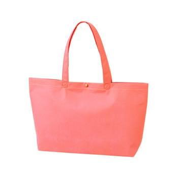カジュアル不織布トートバッグ A4横:ピンク プラホック:白の商品画像