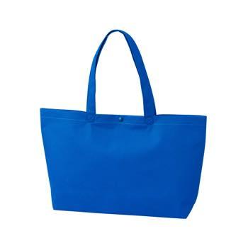 カジュアル不織布トートバッグ A4横:ブルー プラホック:黒の商品画像