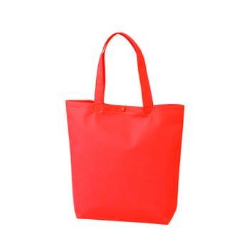 カジュアル不織布トートバッグ A4縦:アカ プラホック:白の商品画像