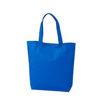 カジュアル不織布トートバッグ A4縦:ブルー プラホック:黒の商品画像