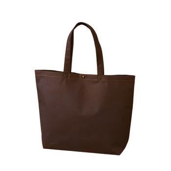 カジュアル不織布トートバッグ 小:ダークブラウン プラホック:黒の商品画像