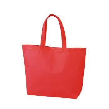 カジュアル不織布トートバッグ 小:アカ プラホック:白の商品画像