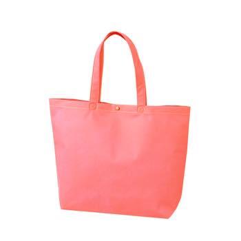 カジュアル不織布トートバッグ 小:ピンク プラホック:白の商品画像