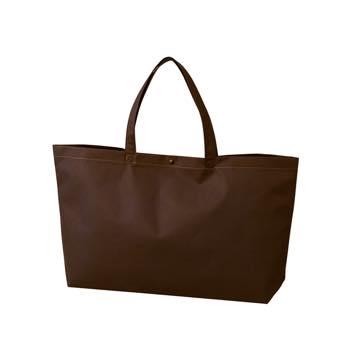 カジュアル不織布トートバッグ 中横:ダークブラウン プラホック:黒の商品画像