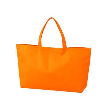カジュアル不織布トートバッグ 中横:オレンジ プラホック:白の商品画像