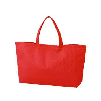 カジュアル不織布トートバッグ 中横:アカ プラホック:白の商品画像