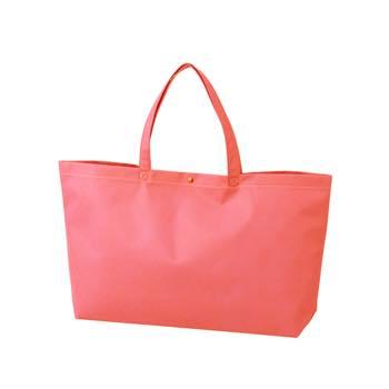 カジュアル不織布トートバッグ 中横:ピンク プラホック:白の商品画像