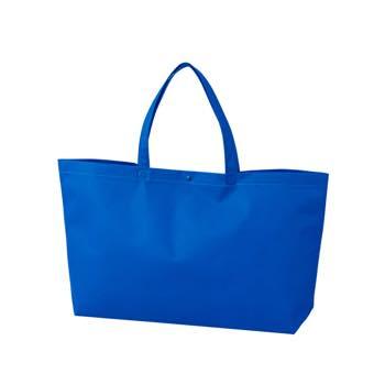 カジュアル不織布トートバッグ 中横:ブルー プラホック:黒の商品画像