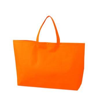 カジュアル不織布トートバッグ 大:オレンジ プラホック:白の商品画像