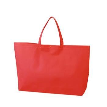 カジュアル不織布トートバッグ 大:アカ プラホック:白の商品画像