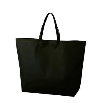 カジュアル不織布トートバッグ 特大:ブラック プラホック:黒の商品画像
