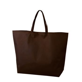 カジュアル不織布トートバッグ 特大:ダークブラウン プラホック:黒の商品画像
