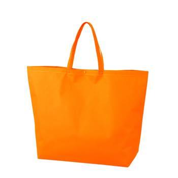 カジュアル不織布トートバッグ 特大:オレンジ プラホック:白の商品画像