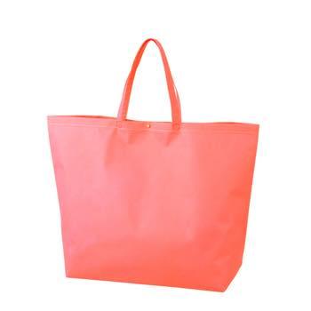 カジュアル不織布トートバッグ 特大:ピンク プラホック:白の商品画像