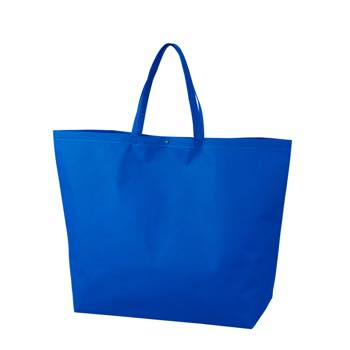 カジュアル不織布トートバッグ 特大:ブルー プラホック:黒の商品画像