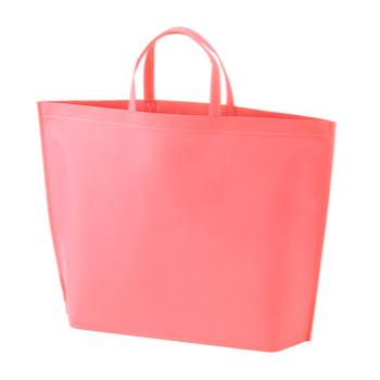 シンプル不織布トートバッグ  大:ピンクの商品画像