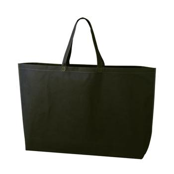 シンプル不織布トートバッグ  特大:ブラックの商品画像