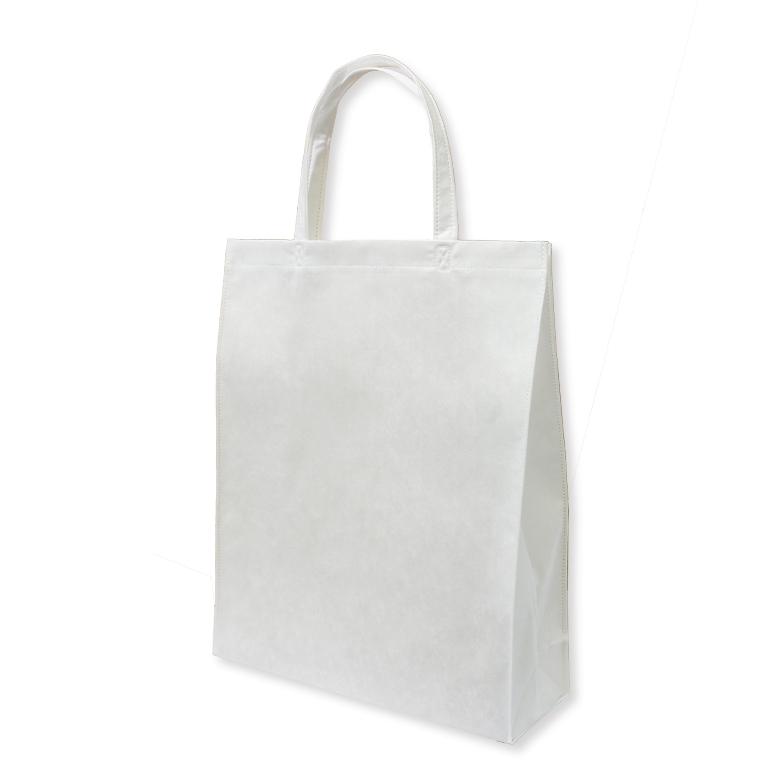 フルカラー不織布バッグ 持ち手付き 角底A4縦 :白の商品画像