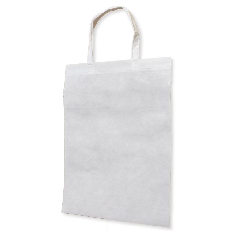 フルカラー不織布バッグ 持ち手付き マチなしA4縦 :白の商品画像