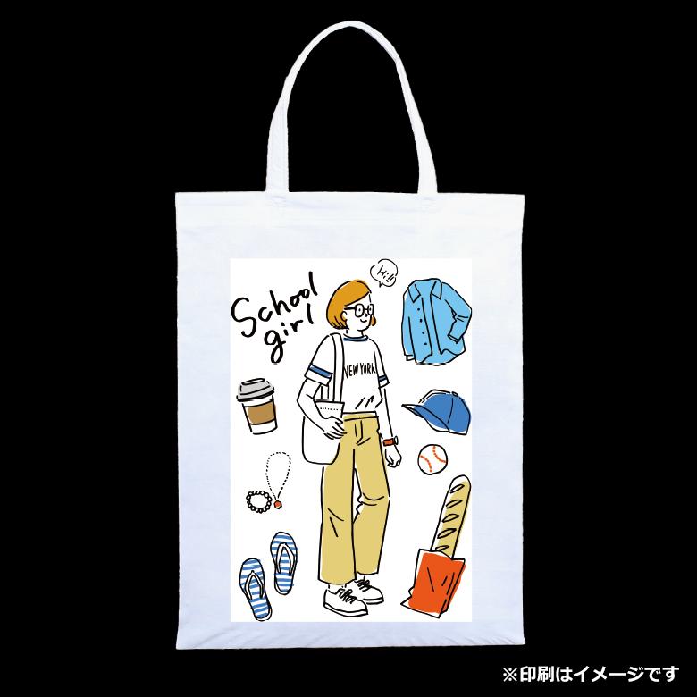 フルカラー不織布バッグ 持ち手付き マチなしA4縦 のサンプルイメージ画像1