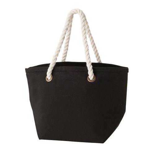 ロープハンドルコットントートバッグ:ブラックの商品画像