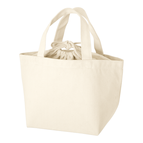 巾着付コットントートバッグS:ナチュラルの商品画像