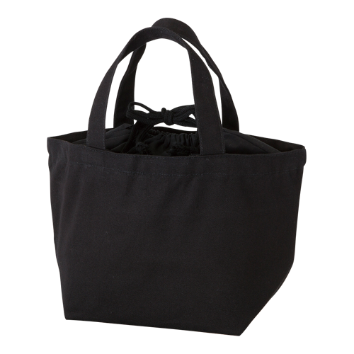 巾着付コットントートバッグS:ナイトブラックの商品画像