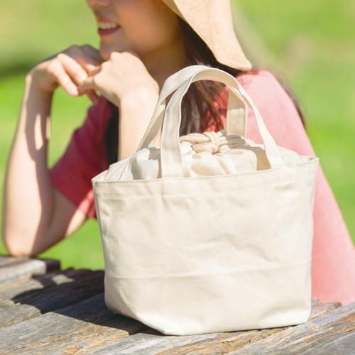巾着付コットントートバッグSのサンプルイメージ画像1