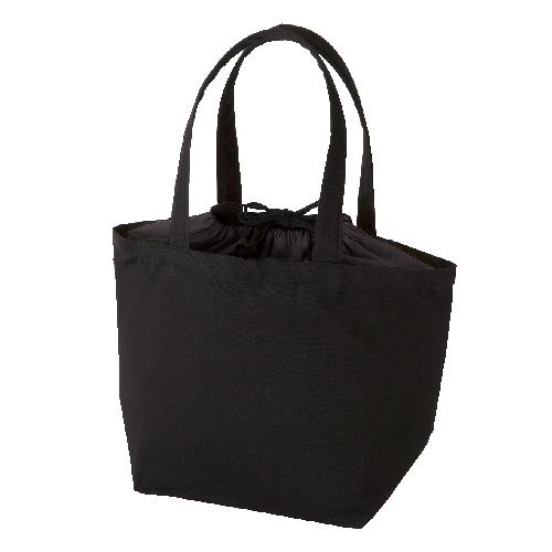 巾着付コットントートバッグM:ナイトブラックの商品画像