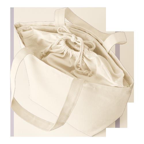 巾着付コットントートバッグMのサンプルイメージ画像3