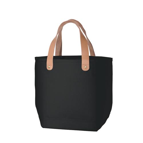 レザーハンドルコットントートバッグS:ナイトブラックの商品画像