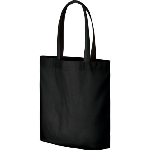 コットンガゼットマチ付バッグ(L):ブラックの商品画像