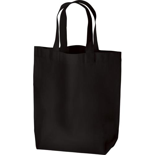 厚手コットンマチ付トート(M):ブラックの商品画像
