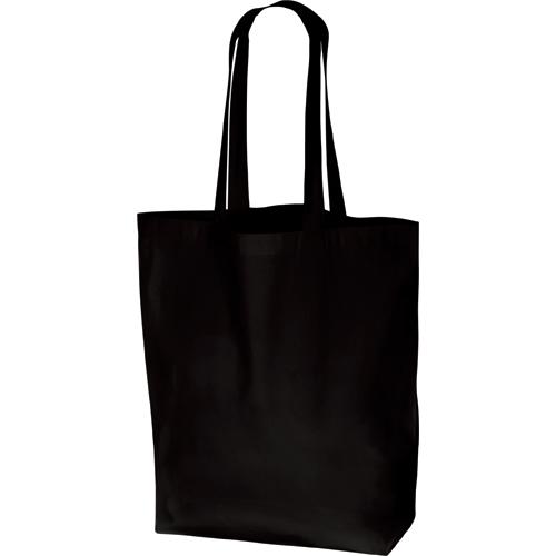 厚手コットンマチ付トート(L):ブラックの商品画像