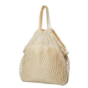ネットバッグ 厚手コットン巾着付:ナチュラルの商品画像